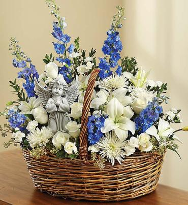 "Heavenly Angelâ""¢ Blue and White Basket"