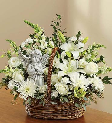 "Heavenly Angelâ""¢ All White Basket"